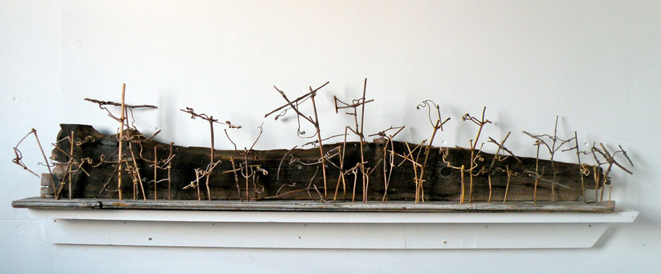 Harry Tabak, Ritual 13, Assemblage, Wood, Stone, Vines