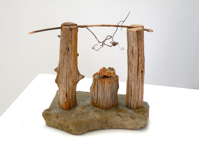 Harry Tabak, Ritual 3, Assemblage, Wood, Stone, Vines