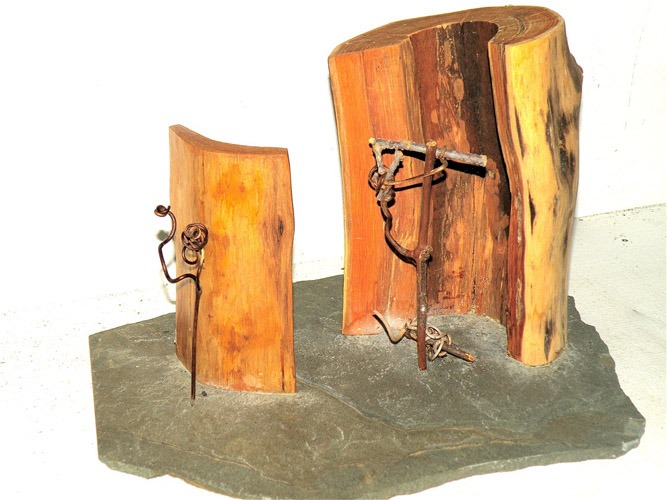 Harry Tabak, Ritual Forms, Assemblage, Wood, Stone, Vines