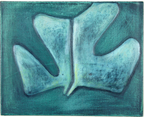 Magalie Guerin, Untitled, (green hat), 2012, Oil and spray paint on canvas, 16 x 20 in.