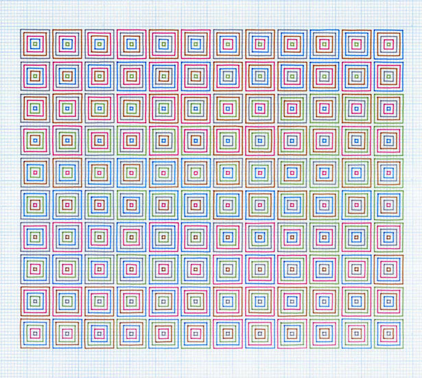 Michael Milano, Squares of 5 in 5, 2011, Ink on Vellum, 18 x 24 in.