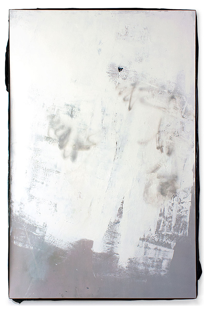 Michaela Zimmer, 140803, 2014, Laquer, Acrylic, Spraypaint, PE film on canvas, 240 x 160 cm