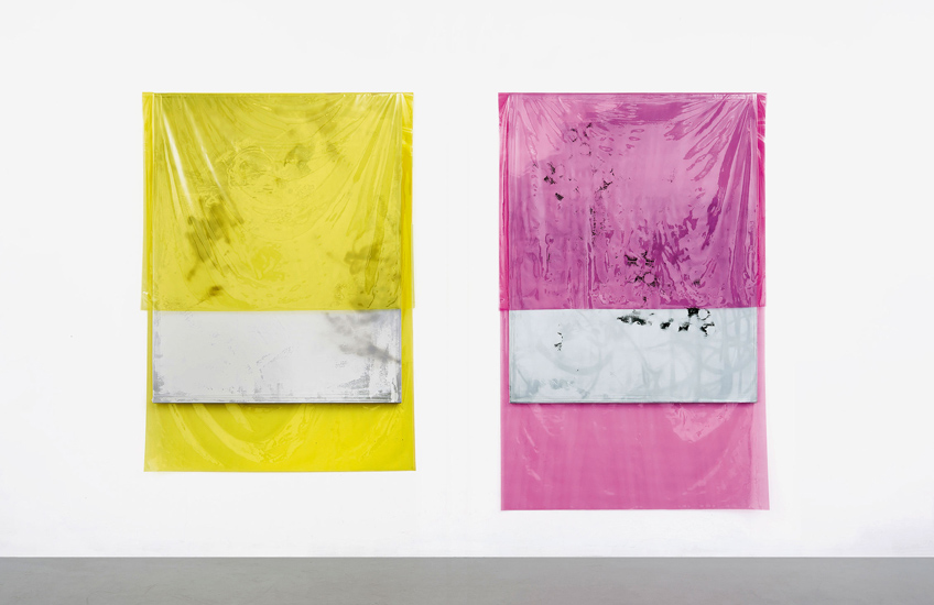 Michaela Zimmer, 150403, 150404, 2015, Laquer, Acrylic, Spraypaint, PE film on canvas, 190 x 130 & 200 x 130 cm